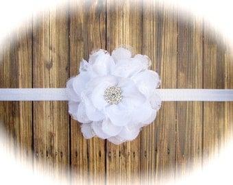 Flower Girl Headband, Wedding Headband, Baptism Bow, Headband, Baby Headband, Newborn Headband, Baptism Headband, Christening Headband, Gift