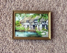 Dollhouse miniature watercolor painting. Alresford Mill. 1/12 scale. Artist Pauline Whiteley. Original painting.