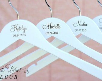 2 White Personalized Bride and Bridesmaid Hanger, Wooden Engraved Hanger, Wire Bridal Hanger Alternative