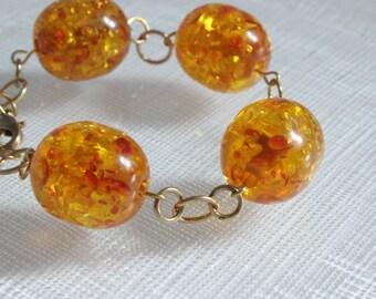 Chunky Orange Speckled Bead Statement Bracelet