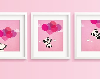 Panda print, nursery art girl, childrens art, kids room decor, panda bear, nursery wall art, new baby, girls nursery, girls room decor