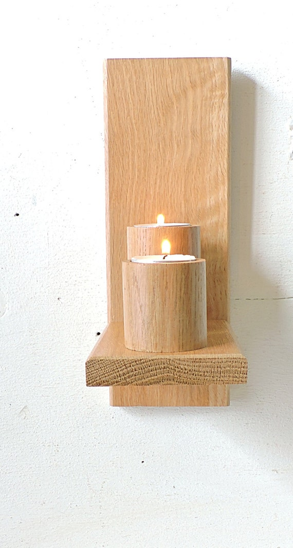 Wall Hung Tea Light Holders : Wall oak candle holderWall Mounted Wooden Candle Holders
