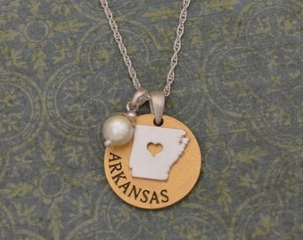 Arkansas Love Necklace with Pearl Accent - 22451