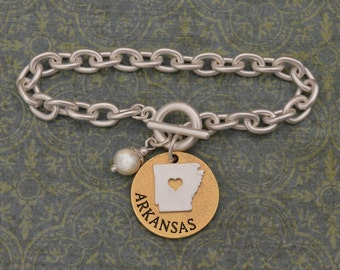 Arkansas Love Toggle Bracelet with Pearl Accent