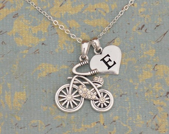 Custom Initial Bicycle Necklace