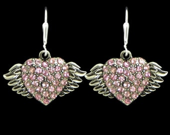 Medium Winged Heart Earrings - 51348