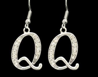 Q Initial Earrings