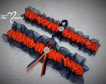 Navy Blue and Orange Garter Set, Keepsake and Toss-away Garter Set, Ribbon Garter, Prom Garter, Bridal Garter, Wedding Garter