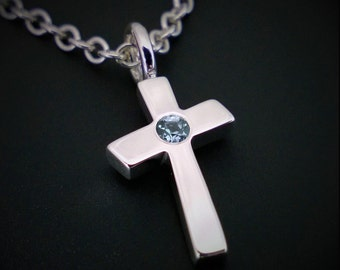 Blue Topaz Cross Necklace Pendant Sterling Silver - Sterling Cross Necklace, Silver Cross Necklace, Topaz Cross Pendant, Blue Cross Necklace