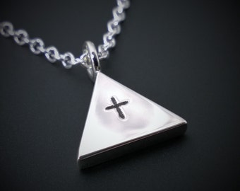 Geometric Triangle Cross Necklace Pendant In Sterling Silver - Silver Triangle Necklace, Sterling Silver Cross Necklace, Minimalist Necklace