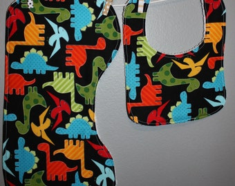 Dino Baby Gift Set Bib, Burp Cloth
