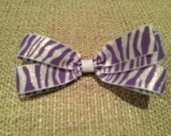 Purple and White Sparkle Zebra Print Animal Print Grosgrain Ribbon Hair Bow on Partially Lined Alligator Hair Clip