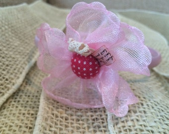 Pink Satin Ribbon Wrapped Headband with Pink Vintage-Like Flower