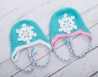 Frozen inspired hat snowflake hat toddler girl hat baby girl hat newborn hat preschool girl hat earflap hat elsa hat anna hat
