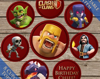 """2"""" Clash Of Clans Cupcake toppers! Digital Download! Printable Birthday Party decorations!"""
