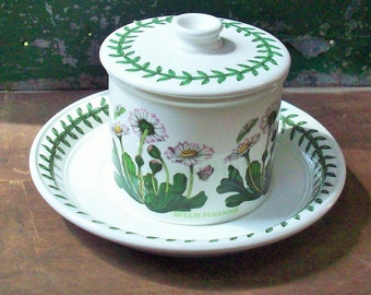 Vintage Portmeirion Botanic Garden China / Small Marmalade jar  / Great Botanical Illustrations