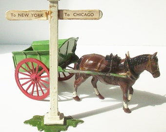 Antique Horse Drawn Wagon and Sign Post / Toy Farm Scene / Charming Figures