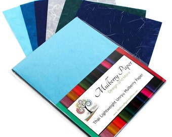 """Mulberry Kozo Paper in 6 Blue Shades for Arts, Crafts and Scrapbooking (24 Sheets of 8.5"""" x 11"""" Paper) - Light Weight"""