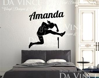 Track Field Hurdler Runner Athletic Decal Custom Girl Name Wall Personalized Vinyl Sticker Decor