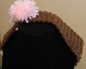 Brown Headband with Pink Pom