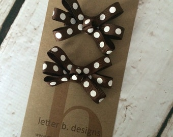 Brown and White Dot Hair Bow Set/ Alligator Clips