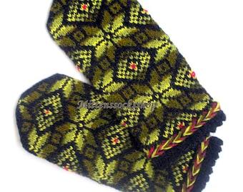 Hand Knit Green Black Wool Mittens Hand Knit Green Black Wool Gloves Women's Mittens Men's Mittens Winter Mittens Patterned Latvian Mittens