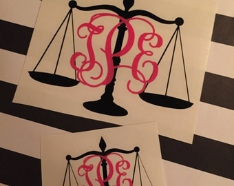 Justice Scales Monogram Decal - Attorney Monogram