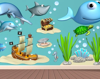Wall decals Kit Sea2 A451 - Stickers Kit Sea2 A451