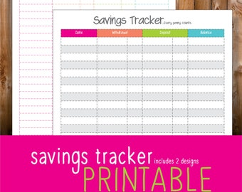 Savings printable   Etsy