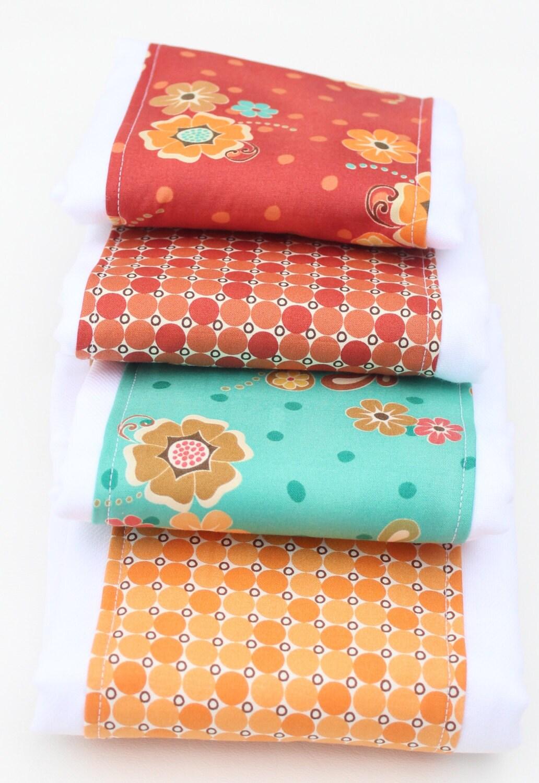 Baby Girl Burp Cloths Burp Cloth Set Coral Orange and Teal
