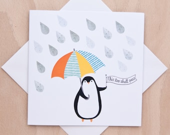 This too shall pass penguin greeting card