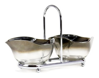 Mid Century Silver Ombre Bowls, Chrome Caddy, Vitreon Queens