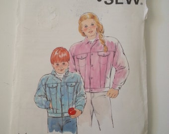 80s jacket / jeans / Childrens / boys / girls / jacket / 1980 vintage sewing pattern, Chest 23 24 25 26, Sizes 4 5 6 7, Kwik Sew 1745