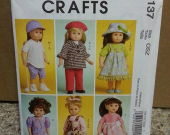 Doll clothes/ for 18 inch dolls / sewing pattern / Doll accessories/ Doll Clothes Pattern /dress /nightgown/ 2010, McCalls Crafts M 6137