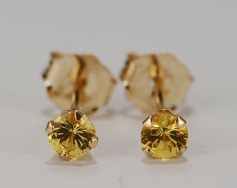 Yellow Sapphire Earrings~14 KT Yellow Gold~3mm Round Cut~Genuine Natural Mined
