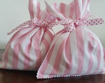 Candy stripe fabric gift bags