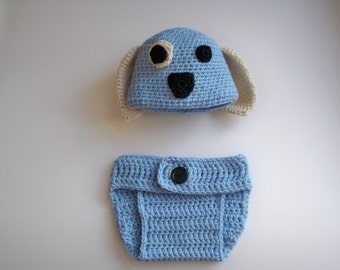 Hand crocheted baby boy puppy hat and diaper cover, 0- 3 months