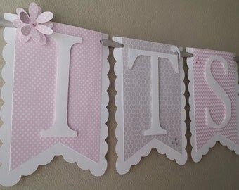 "Pink and Gray ""It's A Girl"" Baby Shower Banner in Chevron, Polka Dot and Honeycomb Patterns"