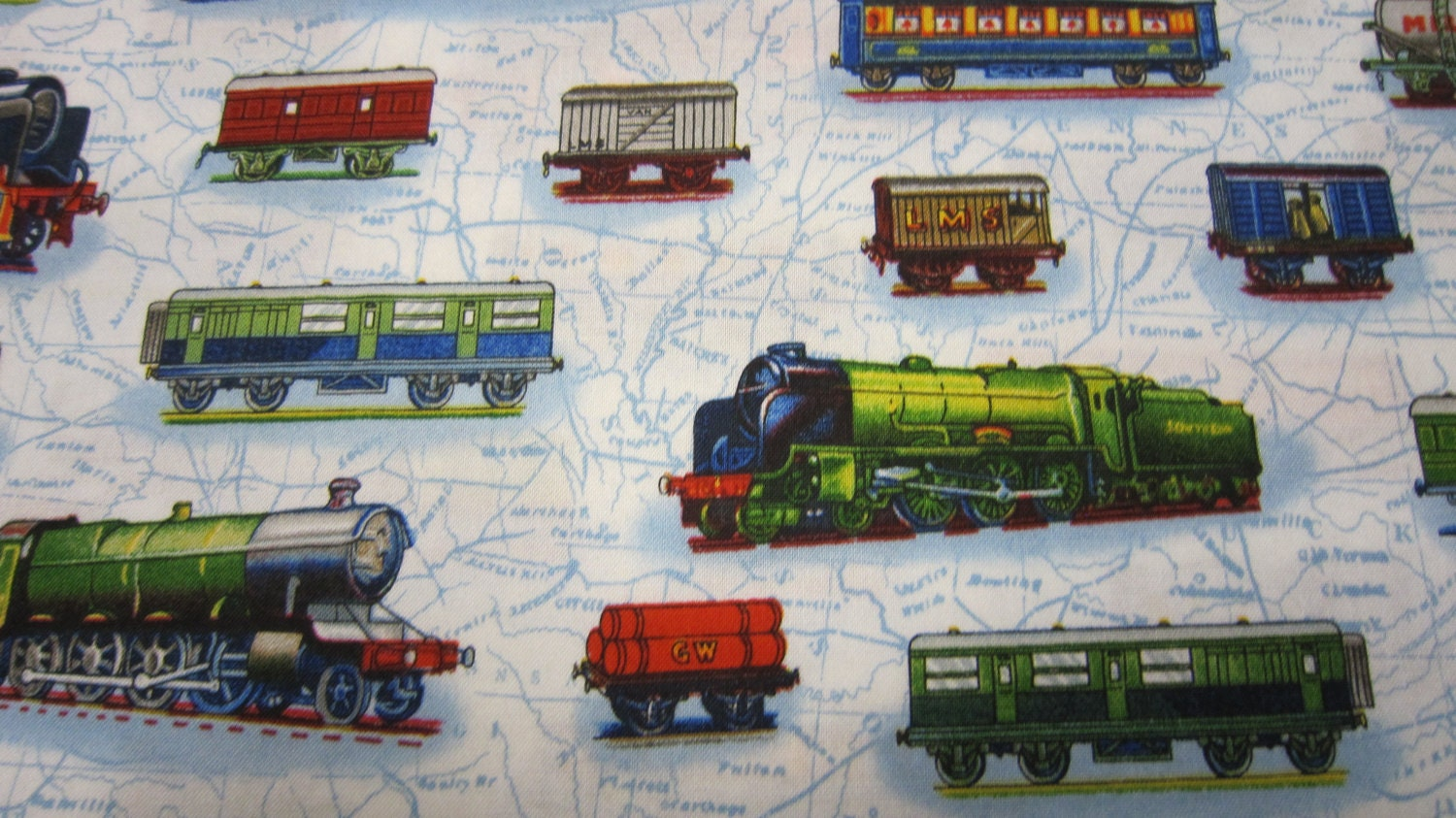 All aboard cotton train fabric designed by next by seamstolast for Kids train fabric