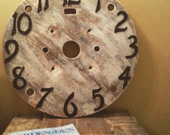 Reclaimed wooden spool clock