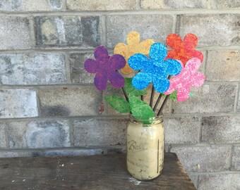 Metal Garden Art Flower Garden Stake - ONE FLOWER
