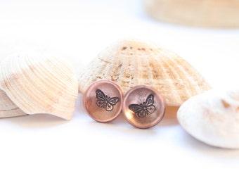 Stud earrings, butterfly earrings, hand stamped earrings, copper earrings, nature lover gift, domed earrings