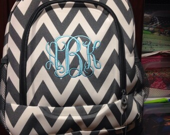 Monogrammed Grey Chevron School Size Backpack Bookbag - Personalized with Embroidered Name or Initials