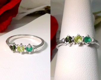 Natural 3 Birthstone Mother's Ring!  US Sizes 5-11 (1/2 increments).  Jan - Dec.  Stackable. 25 Different Gemstone Options!  Wonderful Gift!