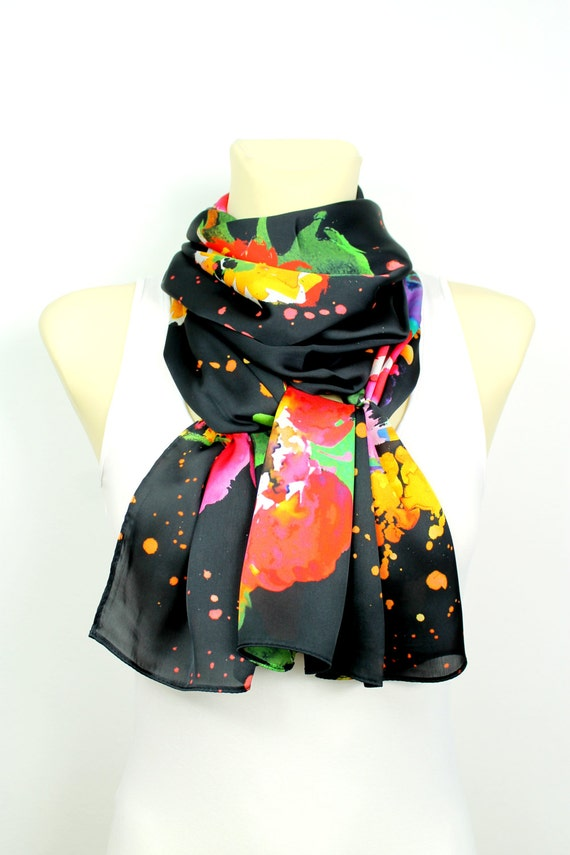 Floral Fabric Scarf Printed Boho Scarf Satin Silk Scarf Gift for Mom Grandmother Gifts Mothers Day from Daughter Spring Celebrations