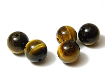 15x Round Tigereye Beads 9mm
