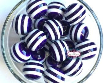20mm Dark Purple Striped Chunky Bubble Gum Beads Set of 10