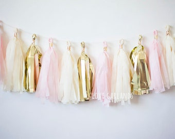 Blush Gold Garland, Blush Gold Tassel Garland, Light Pink Gold Garland, Light Pink Garland, Baby Girl Shower Decor, Pink Gold Bridal Shower