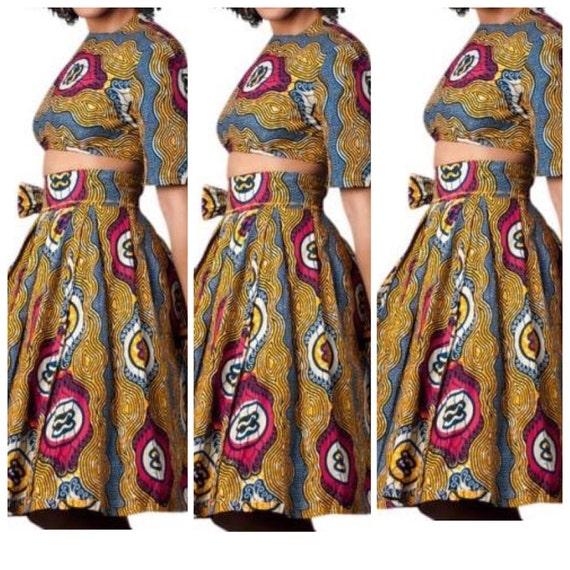 ankara high waisted skirt and crop top set