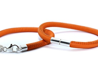 Nappa leather bracelet with choice of sterling silver clasp - Orange nappa leather - Mens or Ladies